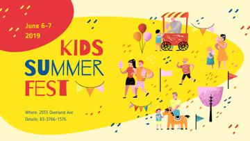 Summer Fest Invitation People Having Fun in Park | Facebook Event Cover Template