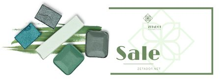 Plantilla de diseño de Cosmetics Sale with Eyeshadow Palette Facebook cover