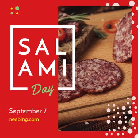 Sliced salami sausage on Salami Day Instagram Modelo de Design