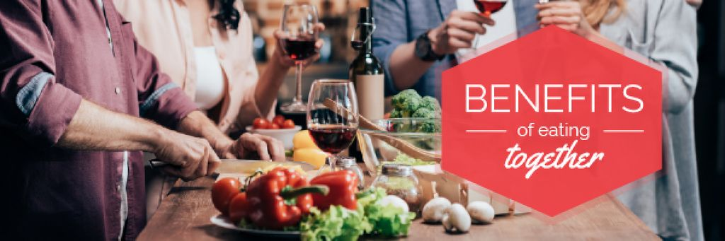 Modèle de visuel People Eating Dinner Together - Email header