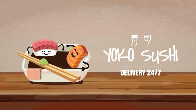 Modèle de visuel Sushi Menu with Food Bathing in Soy Sauce - Full HD video