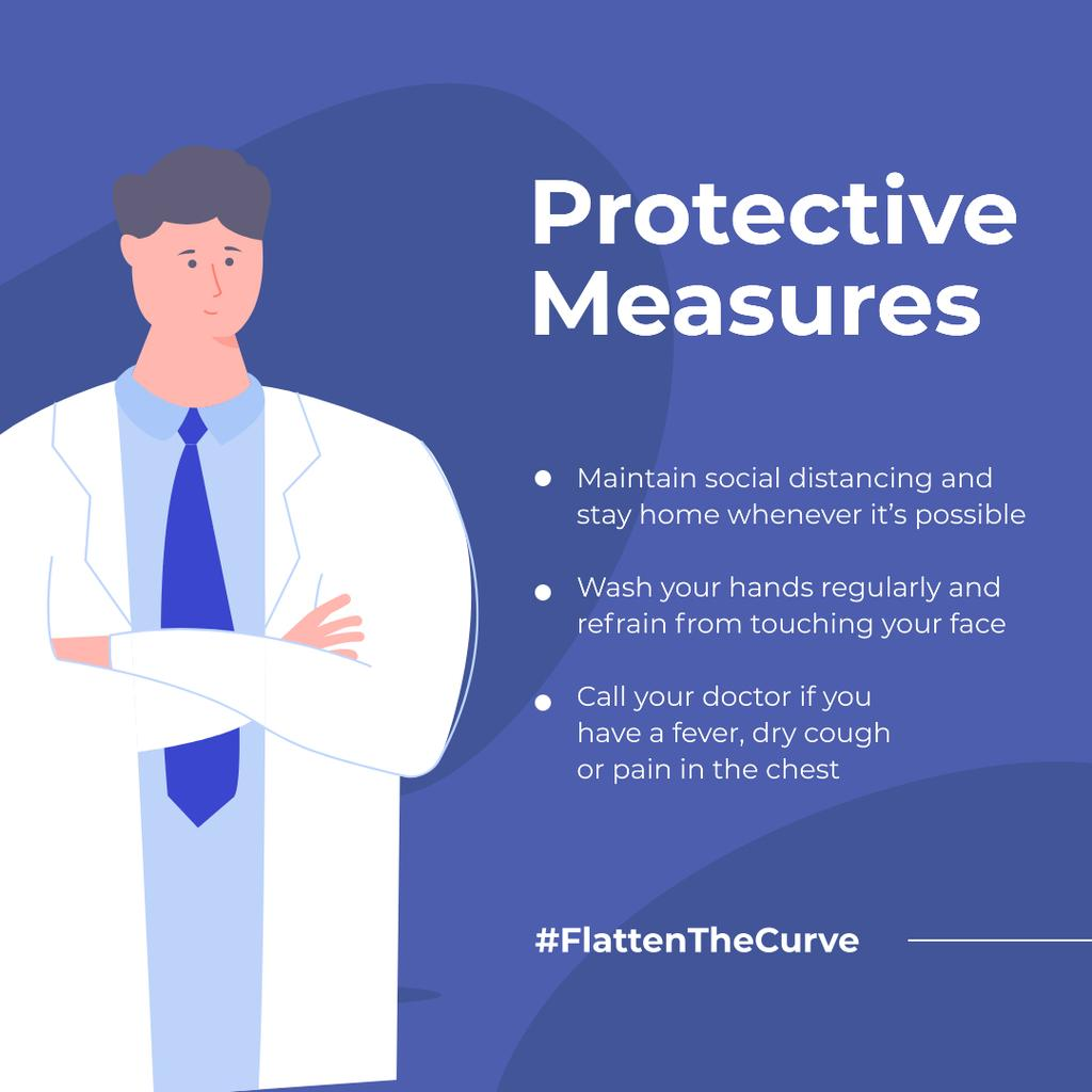#FlattenTheCurve Doctoral Protective Measures reccomendations Instagram Design Template