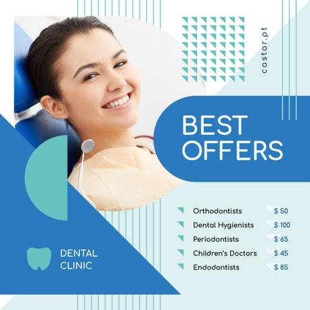 Dental Clinic Offer Woman Smiling at Checkup Instagram Modelo de Design