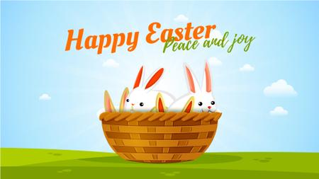 Modèle de visuel Easter Greeting Bunnies in Basket - Full HD video