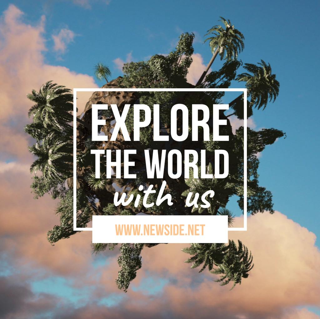 Rotating globe with palms — Create a Design