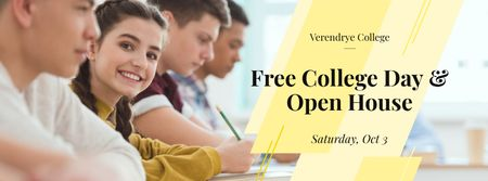 Modèle de visuel Free day and open house in College - Facebook cover
