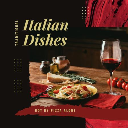 Modèle de visuel Italian pasta and wine - Instagram