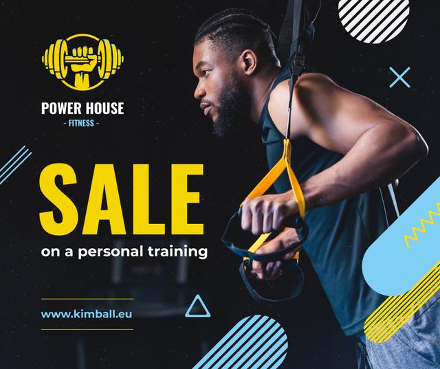 Plantilla de diseño de Man resistance training in gym Facebook