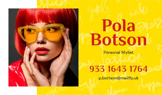 Hairstylist Contacts Girl with Red Hair Business card Design Template