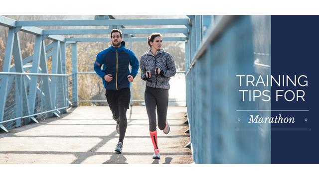 Modèle de visuel Training tips for marathon with Couple running in city - Presentation Wide