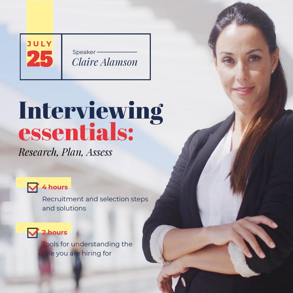 Business Event Announcement with Confident Woman in Suit — Crear un diseño
