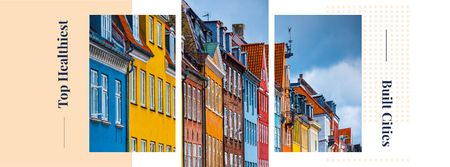 Colorful building facades Facebook cover – шаблон для дизайну