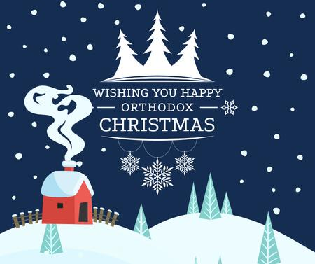 Template di design Orthodox Christmas Greeting with Winter Forest Facebook