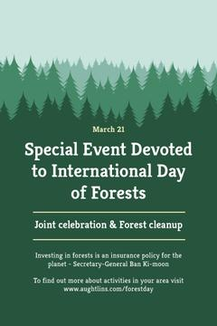 International Day of Forests Event Announcement in Green | Pinterest Template