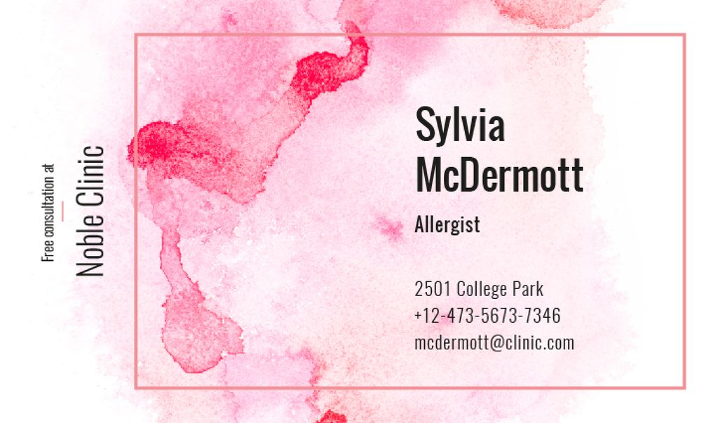 Designvorlage Doctor Contacts on Watercolor Paint Blots in Pink für Business card