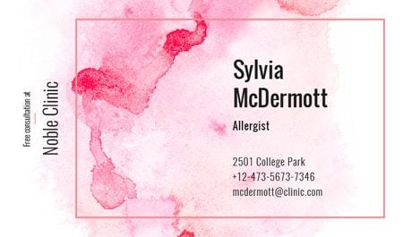 Template di design Doctor Contacts on Watercolor Paint Blots in Pink Business card
