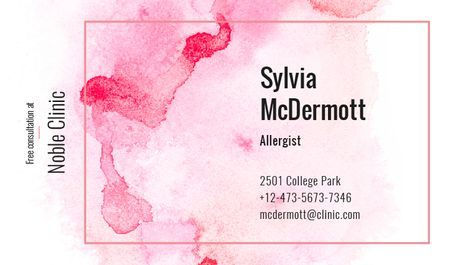 Doctor Contacts on Watercolor Paint Blots in Pink Business card Tasarım Şablonu