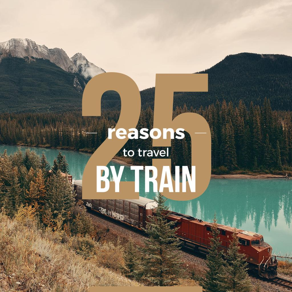 Train riding against of a Beautiful Mountain Landscape — Créer un visuel