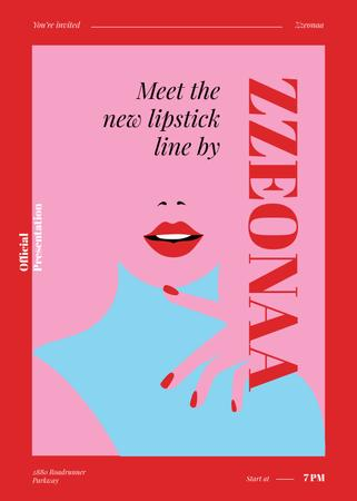 Ontwerpsjabloon van Invitation van Woman with red lips for Lipstick ad