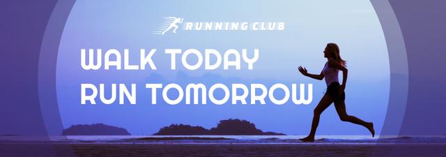 Motivational Sports Quote Running Woman in Blue Tumblr – шаблон для дизайну
