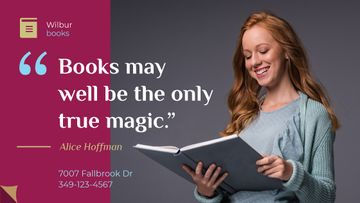Books Quote Smiling Woman Reading