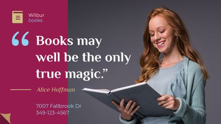 Books Quote Smiling Woman Reading Title Modelo de Design