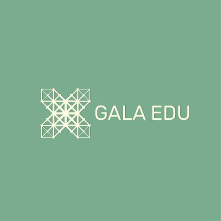 Educational Center with Geometric Grid Icon Logo Modelo de Design