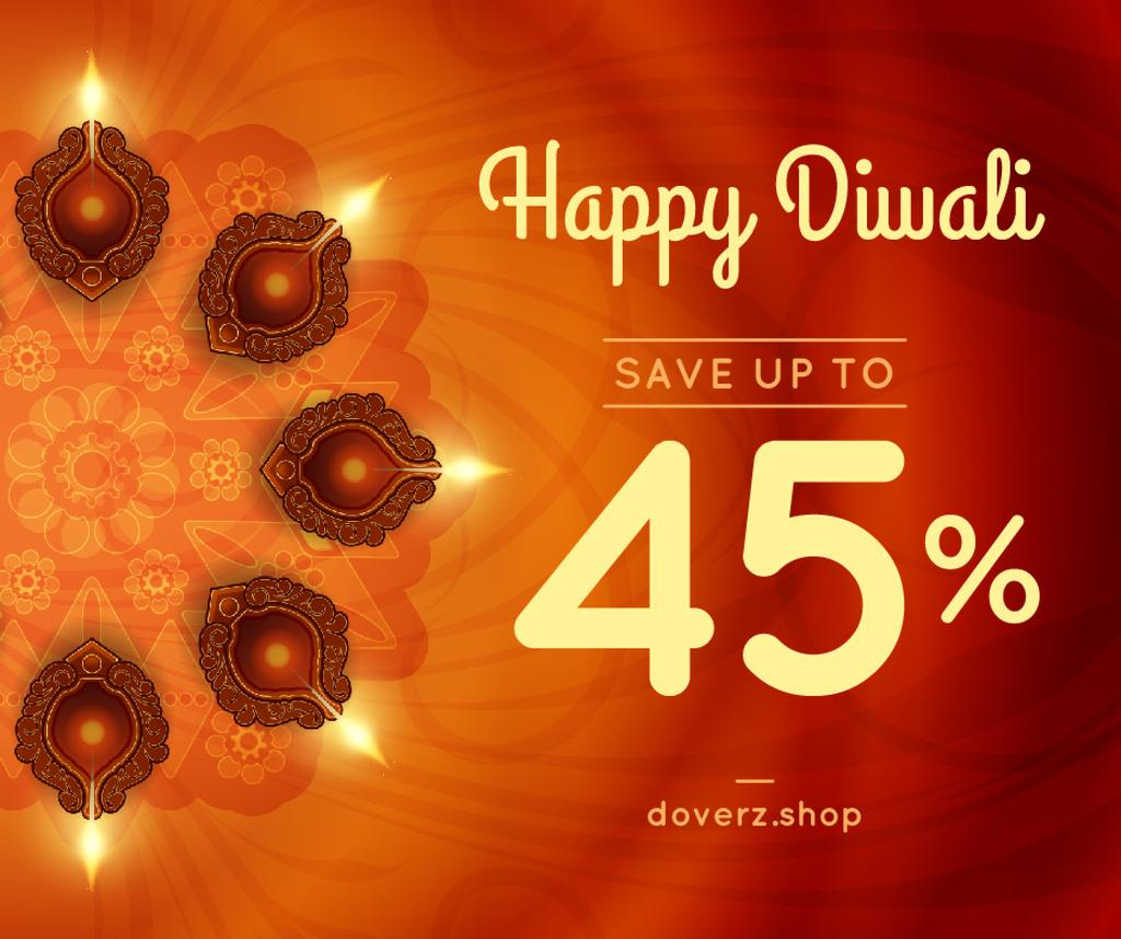 Happy Diwali Greeting Glowing Lamps — ein Design erstellen