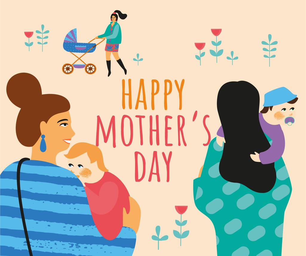 Happy mothers with their kids — Maak een ontwerp