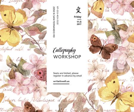 Calligraphy Workshop Announcement Watercolor Flowers Facebook Modelo de Design