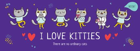 Cute kitties having fun Facebook cover Modelo de Design