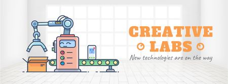 New technologies icons on production line Facebook Video cover Design Template