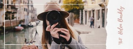 Woman with camera in city Facebook Video cover – шаблон для дизайна