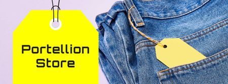 Fashion Sale Ad with Blue Jeans Facebook cover Tasarım Şablonu