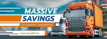 Delivery Offer Large Trucks on Road | Facebook Cover Template