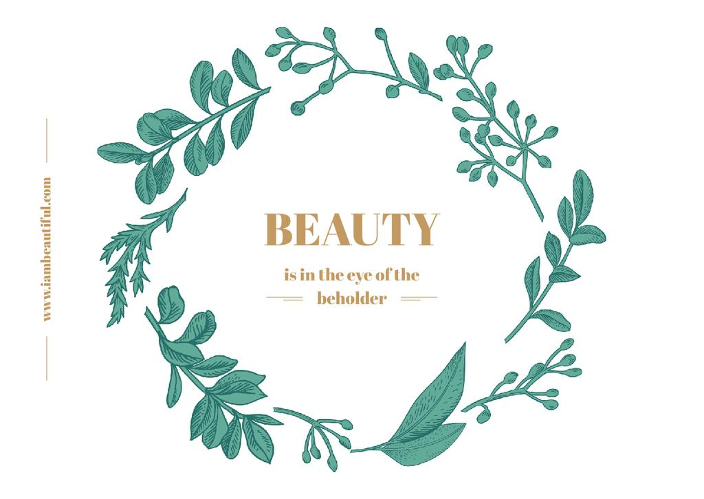 Beauty Quote Green Floral Wreath Frame — ein Design erstellen