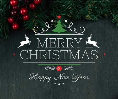 Christmas greeting Fir Tree Branches Facebook Design Template