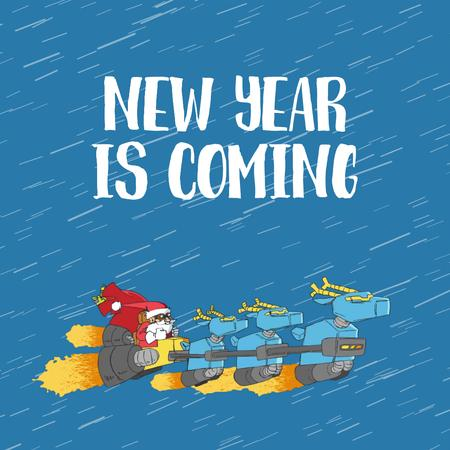 New Year with Santa riding in turbo sleigh Animated Post Tasarım Şablonu