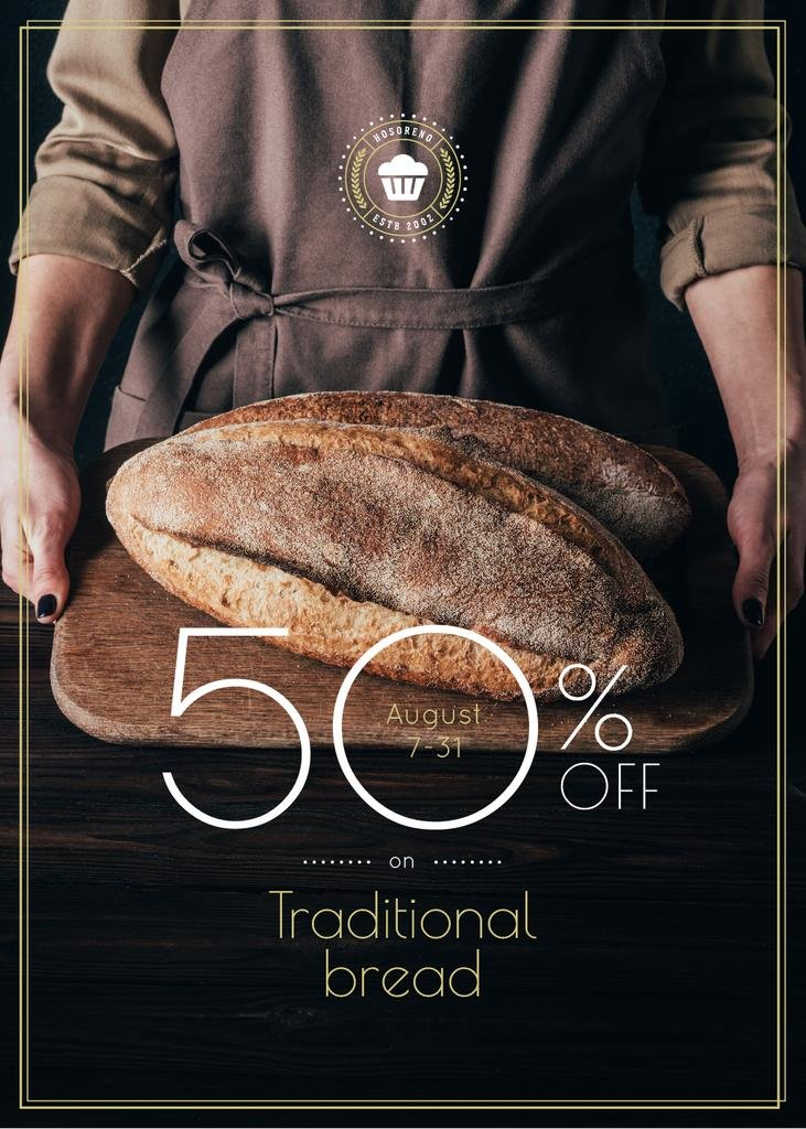Bakery Promotion Baker Holding Fresh Loaves in Brown — Créer un visuel