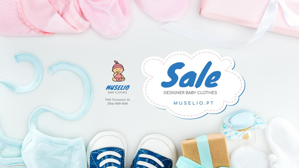 Baby Clothes Sale with Booties and Hats — Créer un visuel