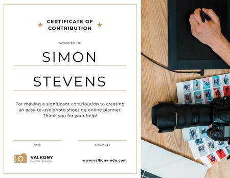 Studio Employee Contribution gratitude Certificate Tasarım Şablonu