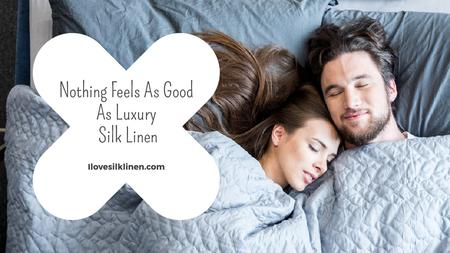 Plantilla de diseño de Bed Linen ad with Couple sleeping in bed Title