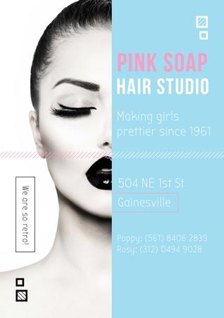 Ontwerpsjabloon van Poster van Hair Studio Ad with Attractive Woman