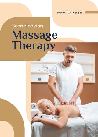 Ontwerpsjabloon van Flayer van Massage Salon Ad Masseur by Relaxed Woman