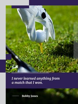 golf player holding ball and quote