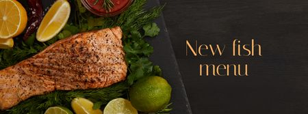 Seafood Offer raw Salmon piece Facebook cover Modelo de Design