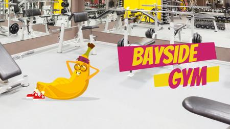 Banana character exercising in gym Full HD video Tasarım Şablonu