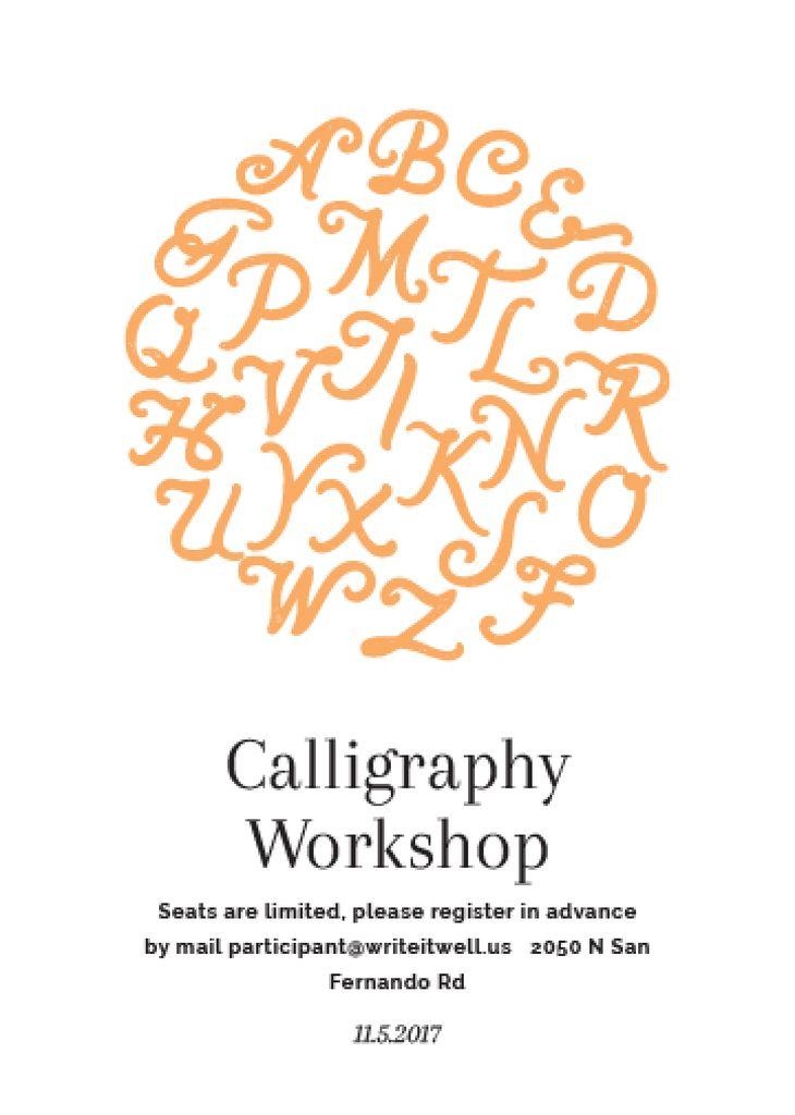 Calligraphy workshop poster invitation template design online crello calligraphy workshop poster design template stopboris Gallery