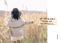 Girl walking in field