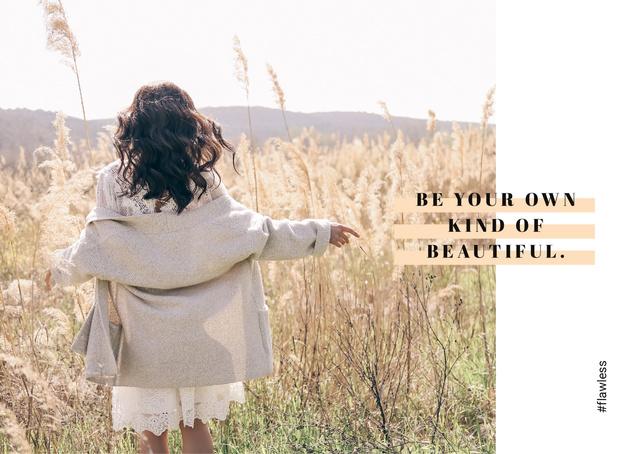 Girl walking in field Postcard Modelo de Design